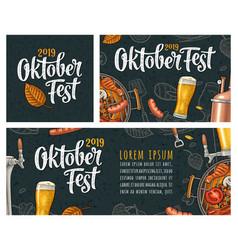 Horizontal posters to oktoberfest 2019 festival vector