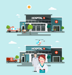 Hospital buildings with doctors vector