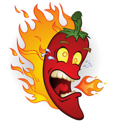 hot red chili pepper cartoon character on fire vector image