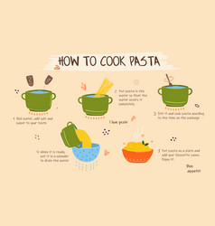 How to cook pasta vector