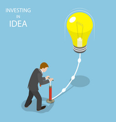 Investing in idea flat isometric concept vector