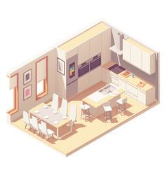 Isometric kitchen interior vector