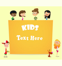 Kids holding a blank banner vector