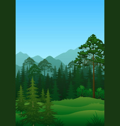 Landscape trees and mountains vector