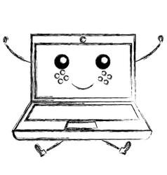 Laptop computer kawaii character vector