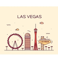 Las Vegas skyline linear vector image