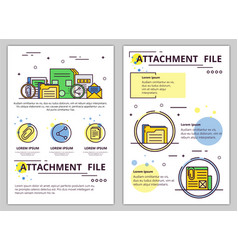 Line art file attachment poster template vector