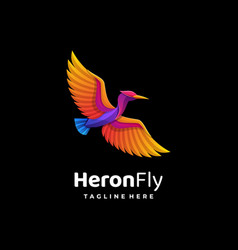 logo heron gradient colorful style vector image
