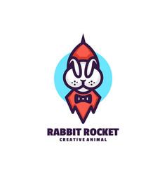 Logo rabbit rocket simple mascot style vector