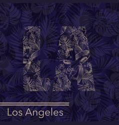 losangeles palm leaves background vector image