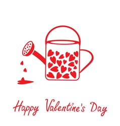 Love watering can with hearts Happy Valentines Day vector image