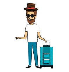 man with suitcase and hat character vector image