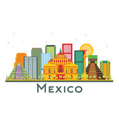 Mexico city skyline with color buildings isolated vector