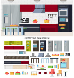 Modern kitchen equipment template vector