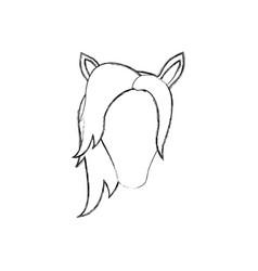 Monochrome blurred silhouette of faceless female vector