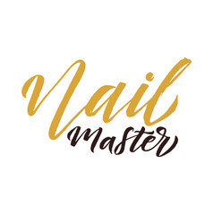 Nail master logo beauty lettering manicure vector