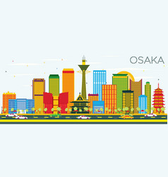 osaka skyline with color buildings and blue sky vector image