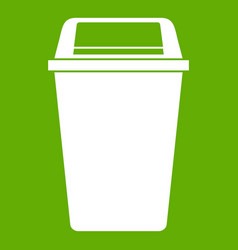Plastic flip lid bin icon green vector
