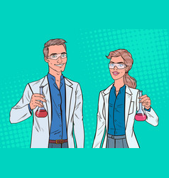 Pop art man and woman scientists with flask vector