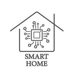 processor styled smart home logo with chip vector image