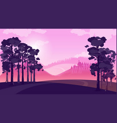 purple landscape with fields and hills vector image