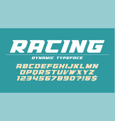 racing display font design alphabet typeface vector image