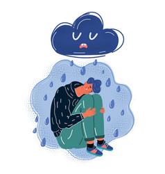 sad man sitting under rainy vector image
