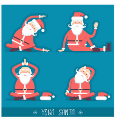 santa claus doing yoga isolated christmas card vector image