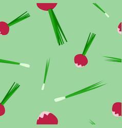 seamless pattern of radish and onion vector image