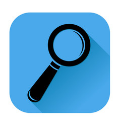 search or find icon black silhouette on blue vector image