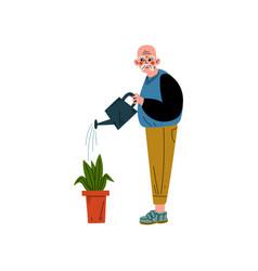 senior man watering flower with can elderly man vector image