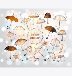 set doodle sketch umbrellas on white glowing vector image
