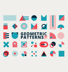 set geometric shapes flat design blue and pink vector image
