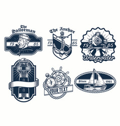 set nautical badge design vector image
