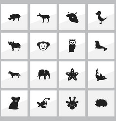 set of 16 editable animal icons includes symbols vector image