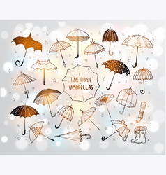Set of doodle sketch umbrellas on white glowing vector