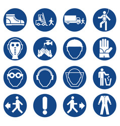 Set of mandatory safety equipment signs vector