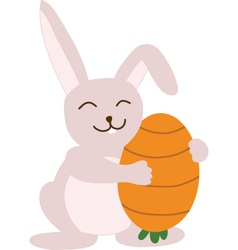 Small lovely rabbit holds egg painted as carrot vector image