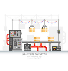 smart factory horizontal belt or robotic conveyor vector image