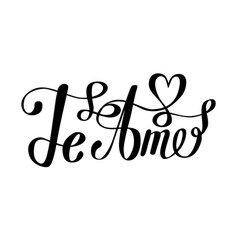 Te amo love you spanish text calligraphy vector