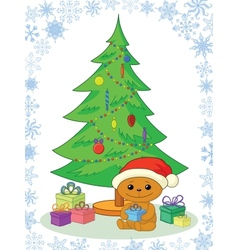 Teddy bear gifts and Christmas tree vector image vector image