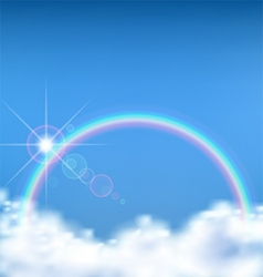 The wonderful view on cloud with rainbow vector