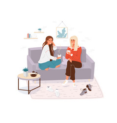 two young women spending time together girls cosy vector image