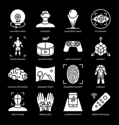 virtual reality silhouette icon set in flat style vector image