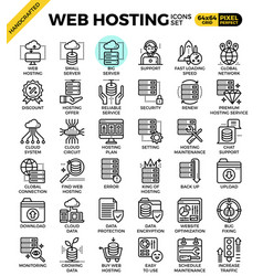 Web hosting line icon set vector