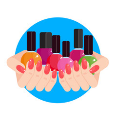 woman hands with nail polish vector image