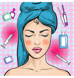 Woman in beauty salon pop vector