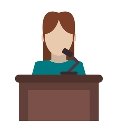 Woman speaking on stand icon vector