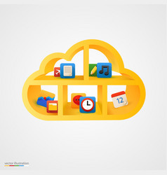 Yellow cloud shelf with icons vector