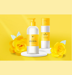 Yellow cosmetics sunscreen lotion realistic vector